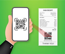 Hand Holding Smartphone To Scan Qr Code On Paper For Detail. Vector Stock Illustration.