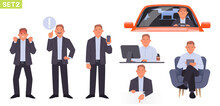 Businessman Character Set. Man Manager In Different Positions And Situations. Person Is Angry, Points To Something