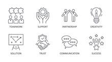 Vector Collaboration Icons. Editable Stroke. Teamwork Problem Solving Solution Partnership. Trust Communication Creativity Success Support. Stock Illustration