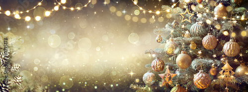 Obraz Vintage Christmas Tree With Retro Ornament And Golden Shiny Glitter In The Defocused Background - fototapety do salonu