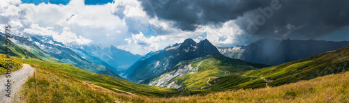 Fototapeta Panorama of the valley and the storm is comming to the Chamonix Mont Blanc valley over the mountain range from the Auvergne Rhone Alps, France obraz