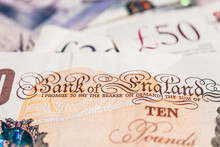 Closeup View Of British Pounds Banknotes