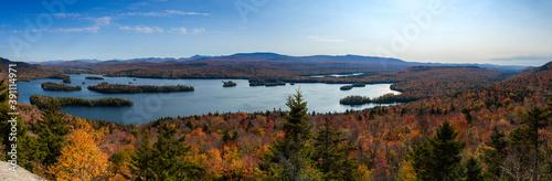Obraz na plátne Panoramic view of blue mountain lake in the Adirondack