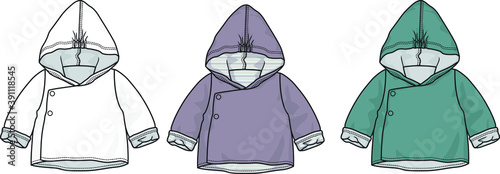 Cuadros en Lienzo babies and toddlers vector fashion flat sketch hooded coat design