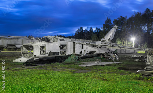 Abandoned Russian bomber on the runway of an airbase Fototapete