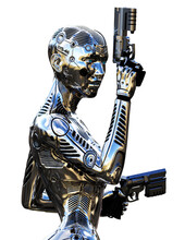 Robot Cyborg Soldier With Guns
