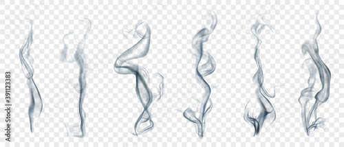 Fotografia Set of several realistic transparent smoke or steam in white and gray colors, for use on light background