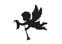 Christmas Angel With Paper Scroll And Trumpet. Christmas Design Element