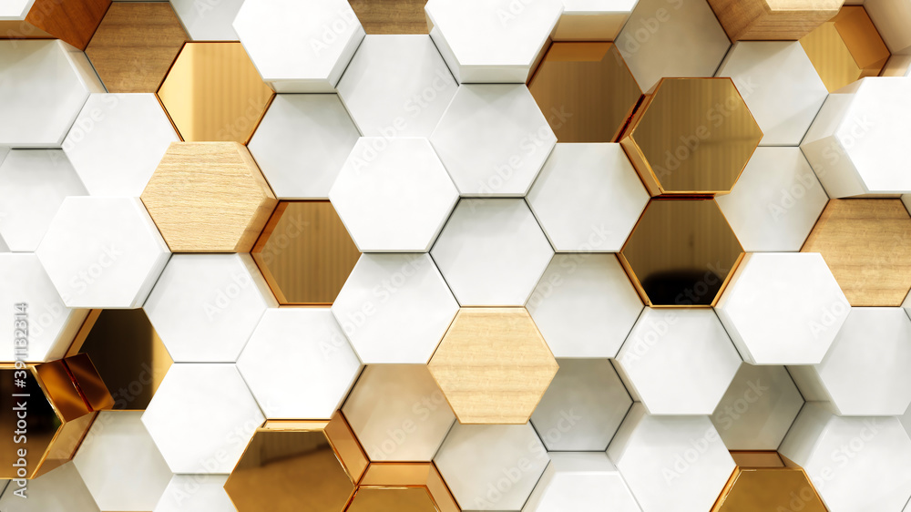 Abstract white luxury background with golden hexagons. 3d rendering.