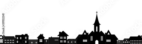 Obraz houses silhouette , city the church - fototapety do salonu