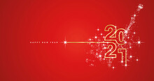 New Year 2021 Line Design Typography Firework Champagne Gold White Red Background Vector