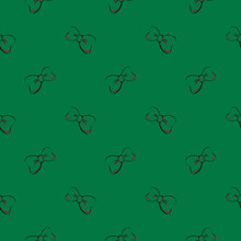 Green Bows , Seamless Pattern On A Dark Green Background.