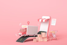 3D Online Express Delivery Service Concept, Fast Response Delivery By Scooter, Courier Pickup, Delivery, Online Shipping Services. 3d Illustration