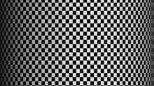 Chess Illusion Cylinder. Checker Geometric Kaleidoscope. Black And White Optical Illusion. Checkered Cylinder Rotating. Checkerboard Moving. 4k Seamless Loop.