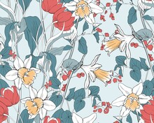 Flower Background With Daffodils And Tulips. Vector Pattern For Fabric And Wallpaper.