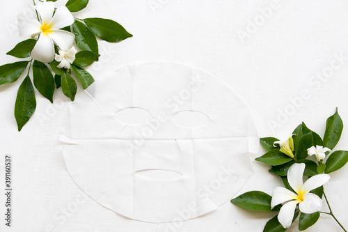 natural aroma sheet mask for skin face from flowers frangipani, jasmine essence Wallpaper Mural