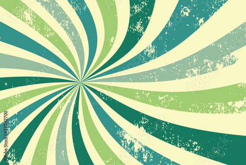 retro groovy sunburst background pattern in 60s hippy style grunge textured vint Fototapeta
