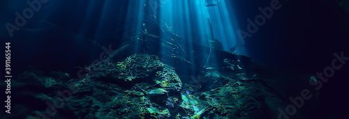 Photo underwater cave stalactites landscape, cave diving, yucatan mexico, view in ceno