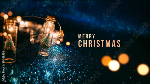 Obraz Merry Christmas and happy new year concept, Close up, Elegant Christmas tree in glass jar decoration. - fototapety do salonu