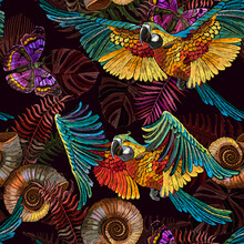 Embroidery. Seamless Pattern. Macaws. Jungle Paradise Art. Tropical Parrots, Butterflies And Palm Leaves. Fashionable Template For Design Of Clothes