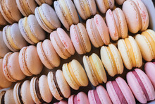 Colored Macaroons. Sweet Dessert Cake For The Whole Family. Set With Different Flavors