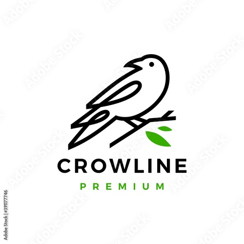 crow raven bird leaf line logo vector icon illustration Fototapet