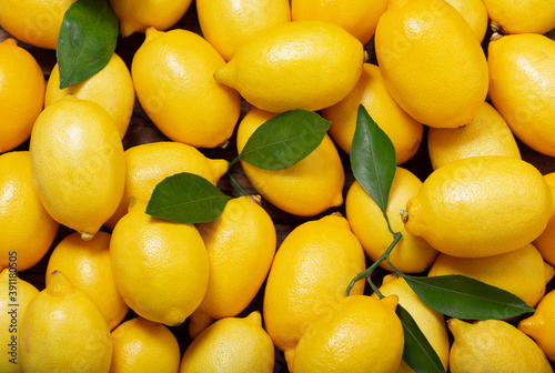 Fototapeta Fresh lemons with leaves, as background obraz