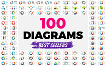100 Circle Diagrams. Infographic Templates Set For Your Presentation. Geometric Signs And Symbols For 3, 4, 5, 6, 7, 8 Steps, Options And Processes.