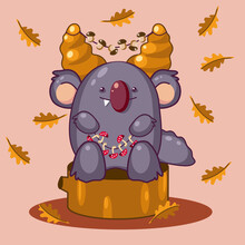 Cute Autumn Forest Monster With Mushrooms On A Stump. Vector Illustration.