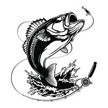 Fishing Bass Logo. Bass Fish With Rod Club Emblem. Fishing Theme Illustration. Fish Isolated On White.