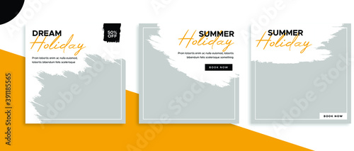 Fototapeta Set of editable square banner templates for Instagram post, Facebook post, for corporate, company, tour tourism, advertisement, and business. With simple white and orange color. (3/3) obraz