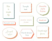 手書き風フレームのセット/枠/見出し/タイトル/飾り/イラスト/装飾/素材/おしゃれ/シンプル