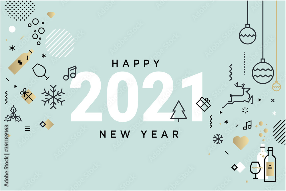 Fototapeta Happy New Year 2021. Vector illustration concept for background, greeting card, website and mobile website banner, party invitation card, social media banner, marketing material.