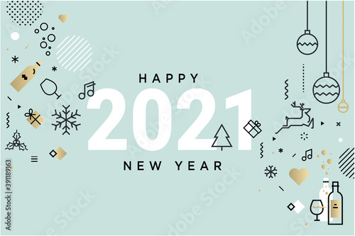 Fototapeta Happy New Year 2021. Vector illustration concept for background, greeting card, website and mobile website banner, party invitation card, social media banner, marketing material. obraz