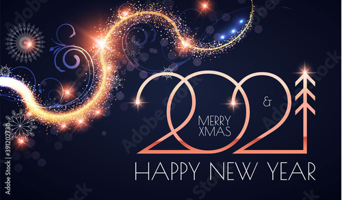 Obraz Happy New 2021 Year Elegant gold text with light and shining bokeh effect - fototapety do salonu