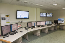 Computer Control Center In A Power Plant, Monitors And Screens