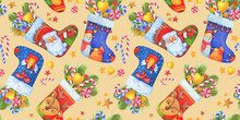 Seamless Pattern A Xmas Sock With Santa Claus, Deer, Snowman, Angel, Sweets And Gifts. For New Year Cards, Banners And Labels. Watercolor Hand Drawn Painting Illustration Isolated On Yellow Background