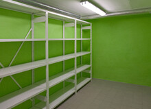 Basement Storage Room With Empty Shelves