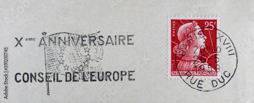 Stampa su Tela Post letter mail Brief vintage retro alt old Frankreich france französisch frenc