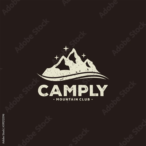 Fotografering Mountain for Outdoor Adventure Emblem Logo design inspiration Hiking, , Badges, Banners, Emblem For Mountain, Hiking, Camping, Expedition And Outdoor Adventure