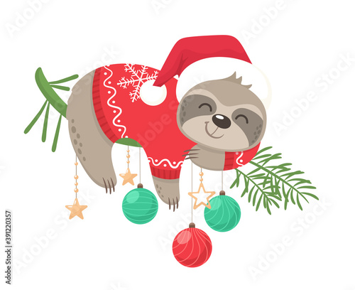 Fototapeta premium Happy and cute sloth vector graphic design for Christmas holiday. Merry Christmas stamp. An adorable sloth character wearing a Santa hat and a cozy sweater. Christmas balls