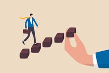 Helping Hand To Support On Career Development, Staircase Or Ladder Of Success Concept, Confidence Businessman In Suit Walking With Ambition On Wooden Stair With Human Hand Help Make Rising Stairway.