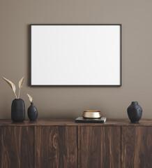 Panel Szklany Tenis Mockup poster frame in modern interior background, 3d render