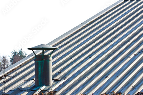 Metal chimney on copper roof - image with copy space Fototapet
