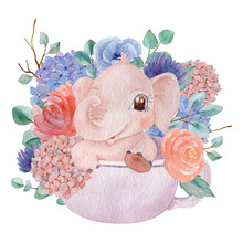 Cute Baby Elephant Sitting In Cup Decorated With Hydrangeas Watercolor Illustration. Children Illustration Character. Children Party Invitation Theme. Hand Painted Pink Elephant Isolated On White Back