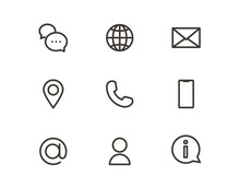 Outline Trendy Icons For Online Business Or Website. Vector Graphic Elements For Visual Communication Strategy