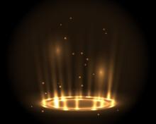 Round Glow Golden Rays Night Scene With Sparks On Dark Background. Empty Light Effect Podium. Disco Club Dance Floor. Show Party. Beam Stage. Magic Fantasy Portal. Futuristic Teleport