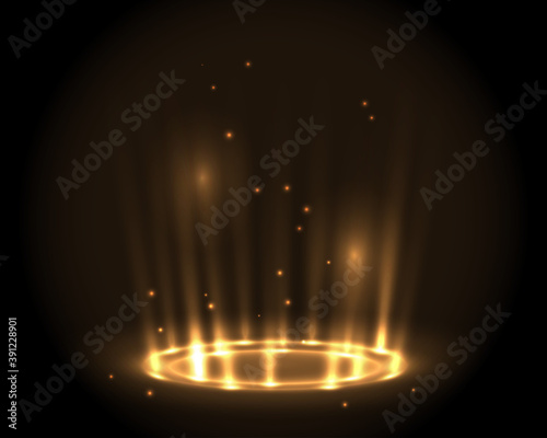 Foto Round glow golden rays night scene with sparks on dark background