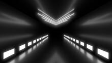 A Dark Corridor Lit By White N...