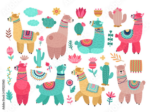 Llama with cactus. Cute alpaca, baby llamas flower and art floral objects. Isolated wild animal kid stickers, cuteness elements vector set. Llama and alpaca, animal and flower colored illustration